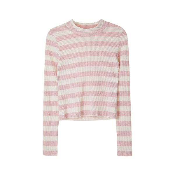 [TOP]스트라이프 슬림 숏 티 ❤ liked on Polyvore featuring tops, sweaters and pink top
