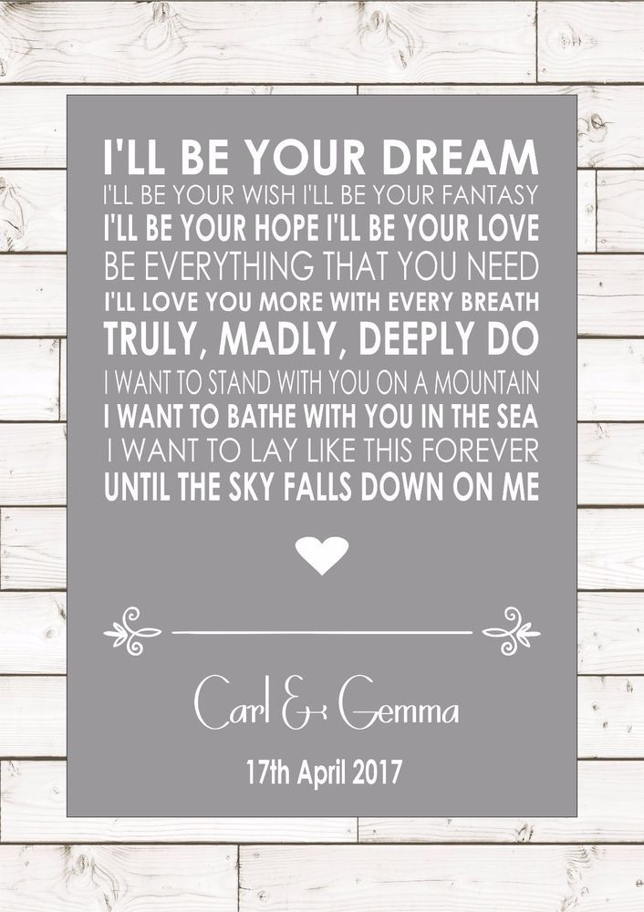 I/'ll Stand By You Grey Heart Song Lyric Quote Print