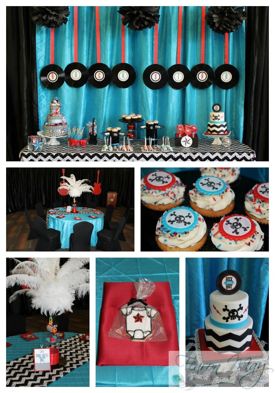 Rock N Roll Baby Shower I Like The Colors And Chevron Print