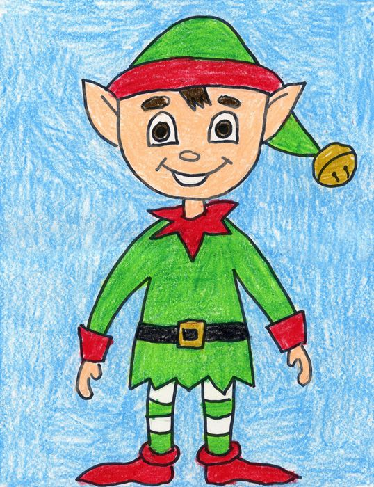 Step by Step Elf Drawing Elf art, Christmas art projects