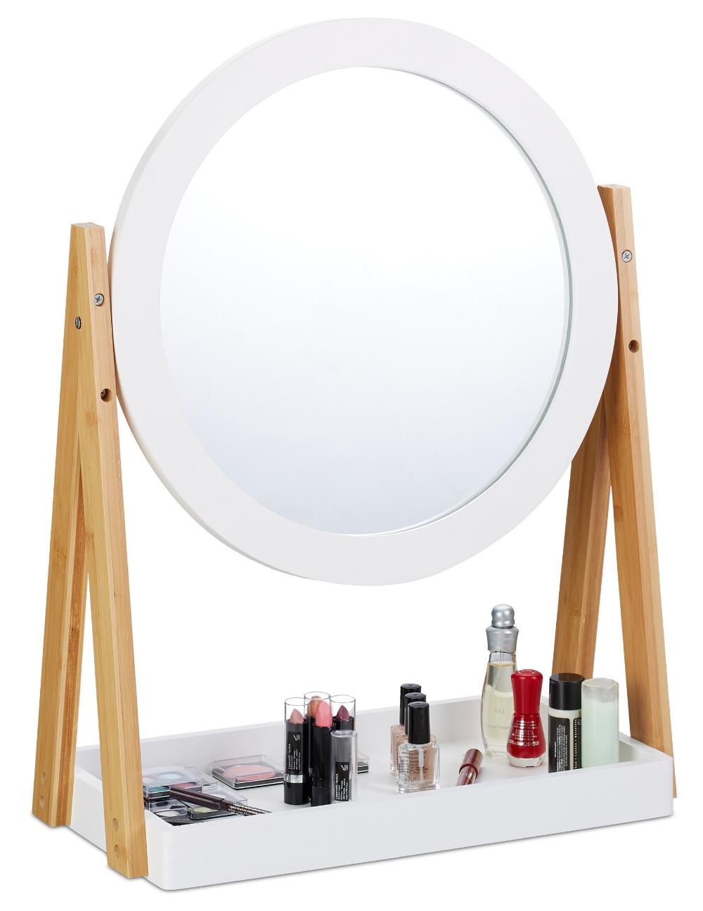Bambusowa Toaletka Do Makijazu Na Kosmetyki Lustro 8001675212 Oficjalne Archiwum Allegro Mirror Table Mirror Decor