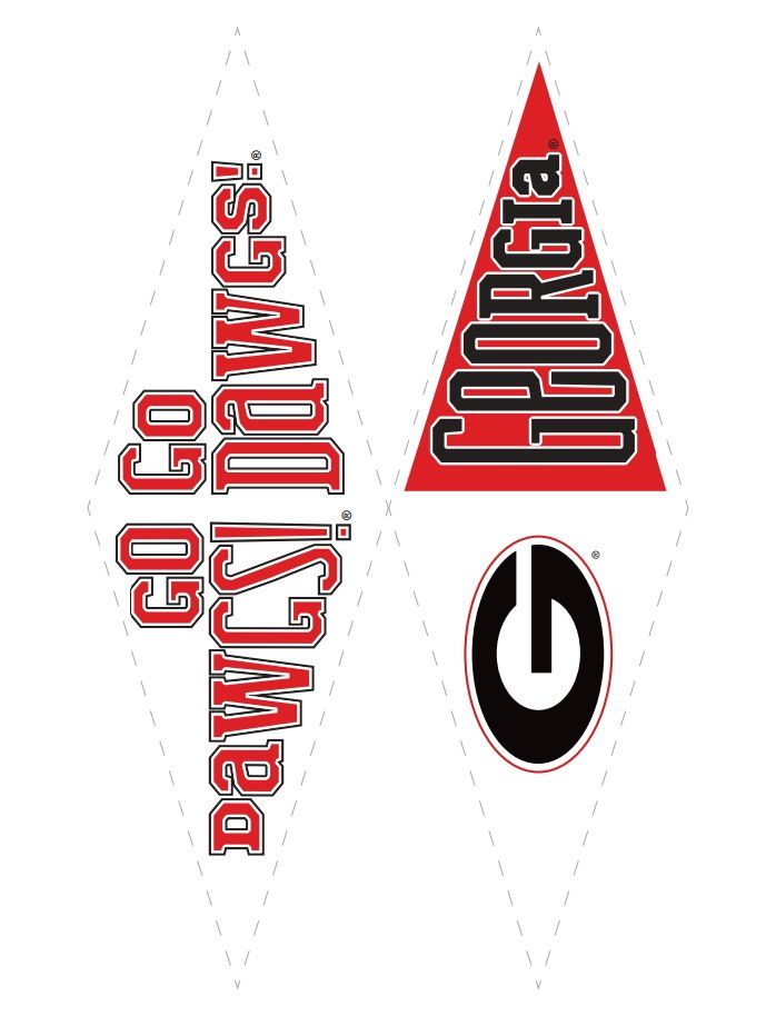 UGA Pennants Printable Football Fever Parties Georgia Bulldogs College