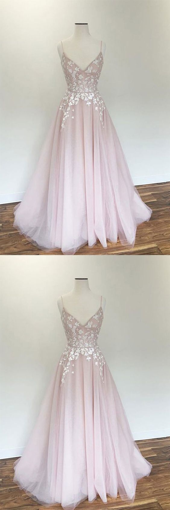 Light pink v neck tulle applique long prom dress pink evening dress