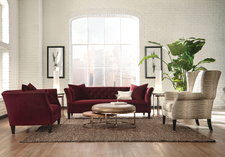 Layla Maroon Velvet Upholstered Contemporary Sofa   Sofas ...