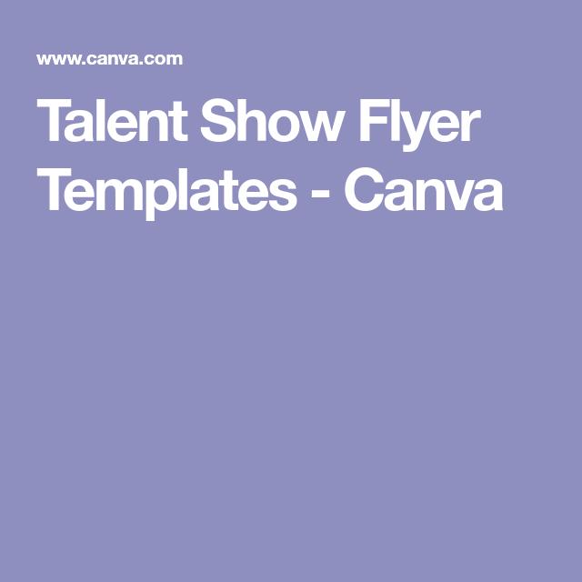 Talent Show Flyer Templates  Canva  Talent Show