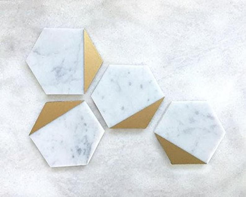 Hexagon Marble Gold Coaster Set Of 4 Drink Coasters Bar Coasters Or Home Decor Marble Coasters Coaster Furniture Gold Coasters