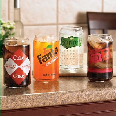 These Retro Can Glasses are cute, but I wish they could be purchased individually.  I'd want all Sprite glasses instead of an assortment.