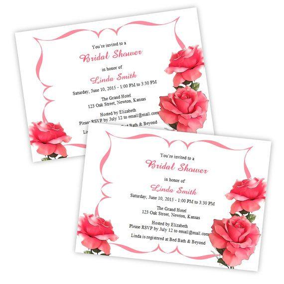 Bridal shower invitations romantic pink roses diy printable bridal shower invitations romantic pink roses diy printable template instant download microsoft filmwisefo