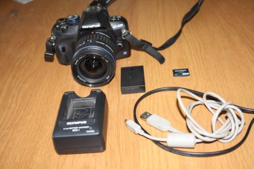 Olympus-Evolt-E-420-10MP-DSLR-Camera-14-42mm-Zuiko-Lens-2GB-card-Hood