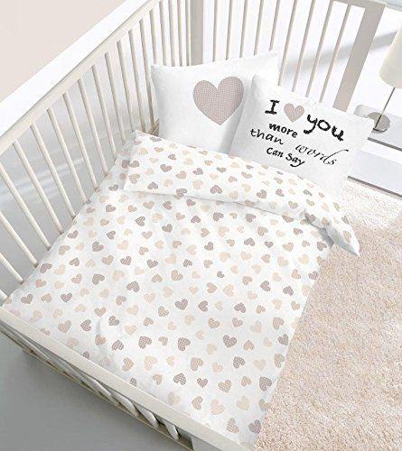 Renforce Baby Bettwäsche Herz I Love You In Beige Größe 40x60