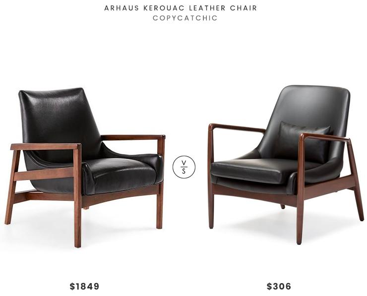 Arhaus Kerouac Leather Chair $1849 Vs Mid Century Faux Leather Chair $306  Mid Century Leather Wood