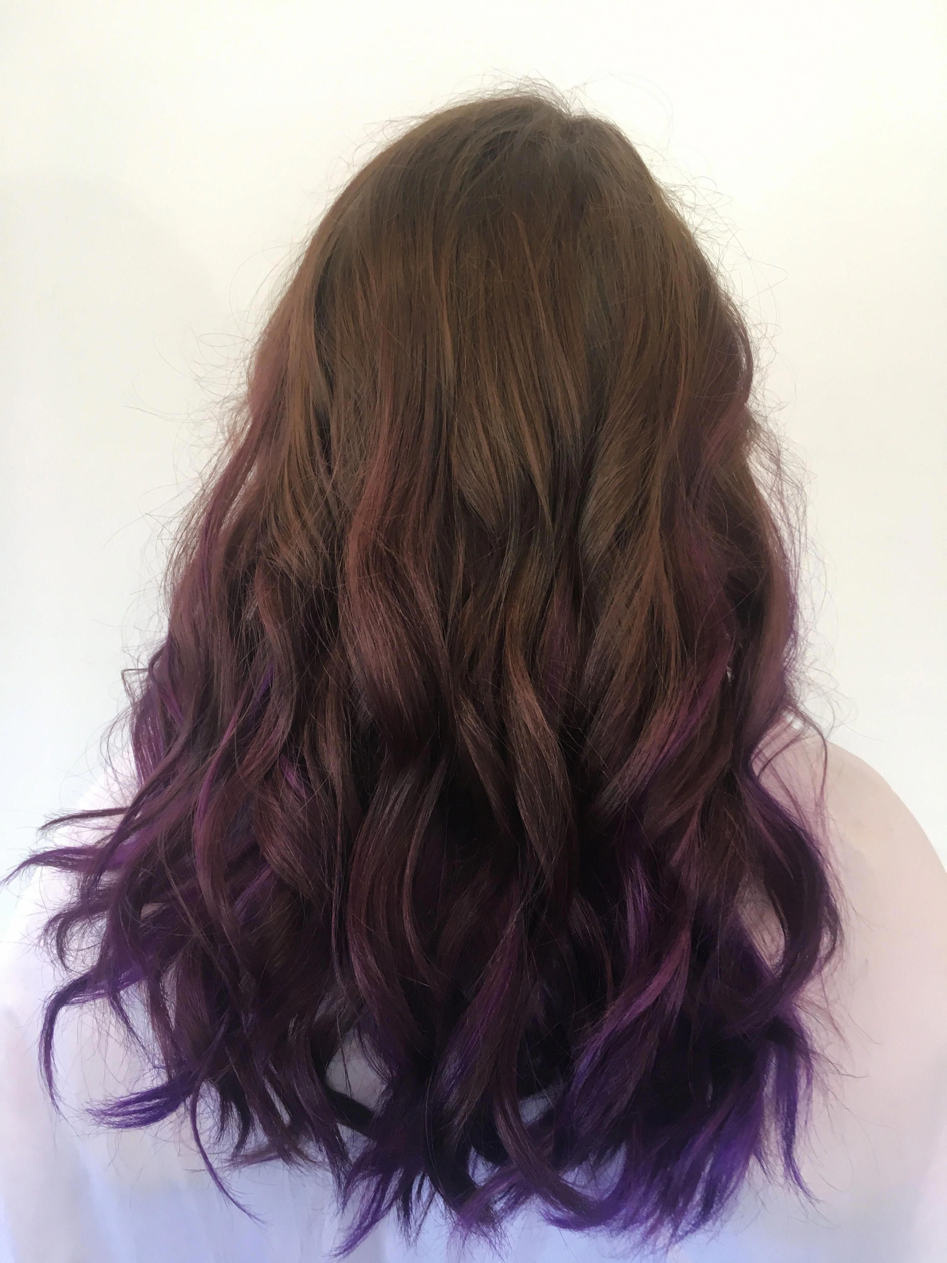 Brown Hair With Purple Ombre Tips Hair In 2019 Brown Hair Purple Hair Hairstyles Brownhairbalayage Brown Hair Dye Purple Hair Tips Hair Dye Tips
