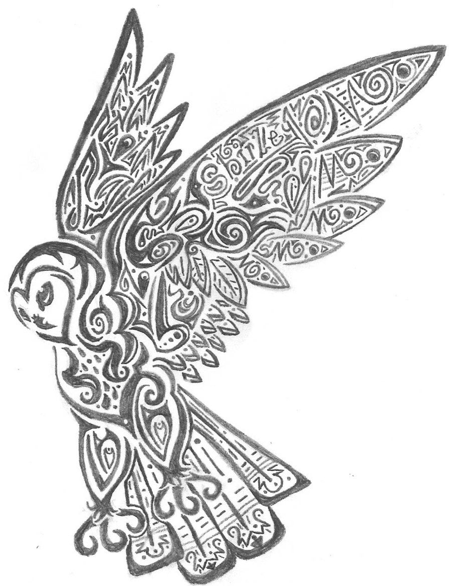 owl coloring pages free printables | tribal_owl_by_crimsonbluewolf ...