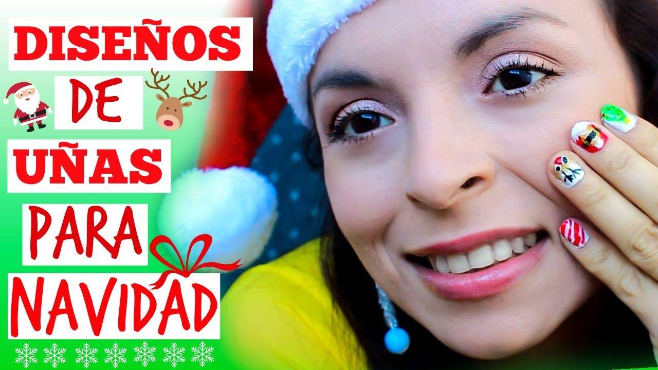 5 DISEÑOS DE UÑAS PARA NAVIDAD! MUY FACIL | Nail Art for Christmas ...