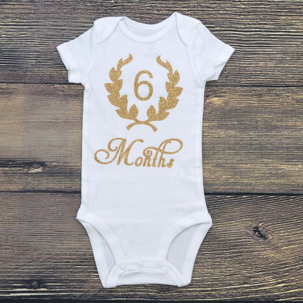 half birthday onesie, 6 months onesie for baby girl, gold