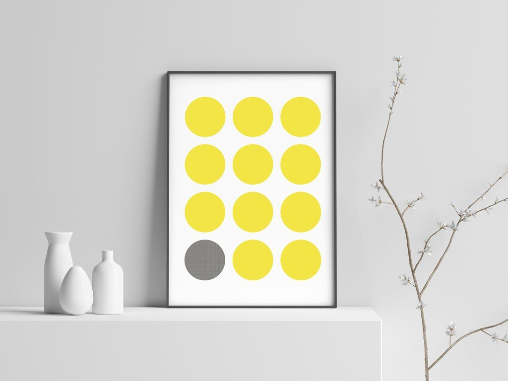 Yellow Gray Aligned Circle Modern Scandinavian Print Poster 20 Dekor Sten Doma Dekor Komnaty Dekor Sten