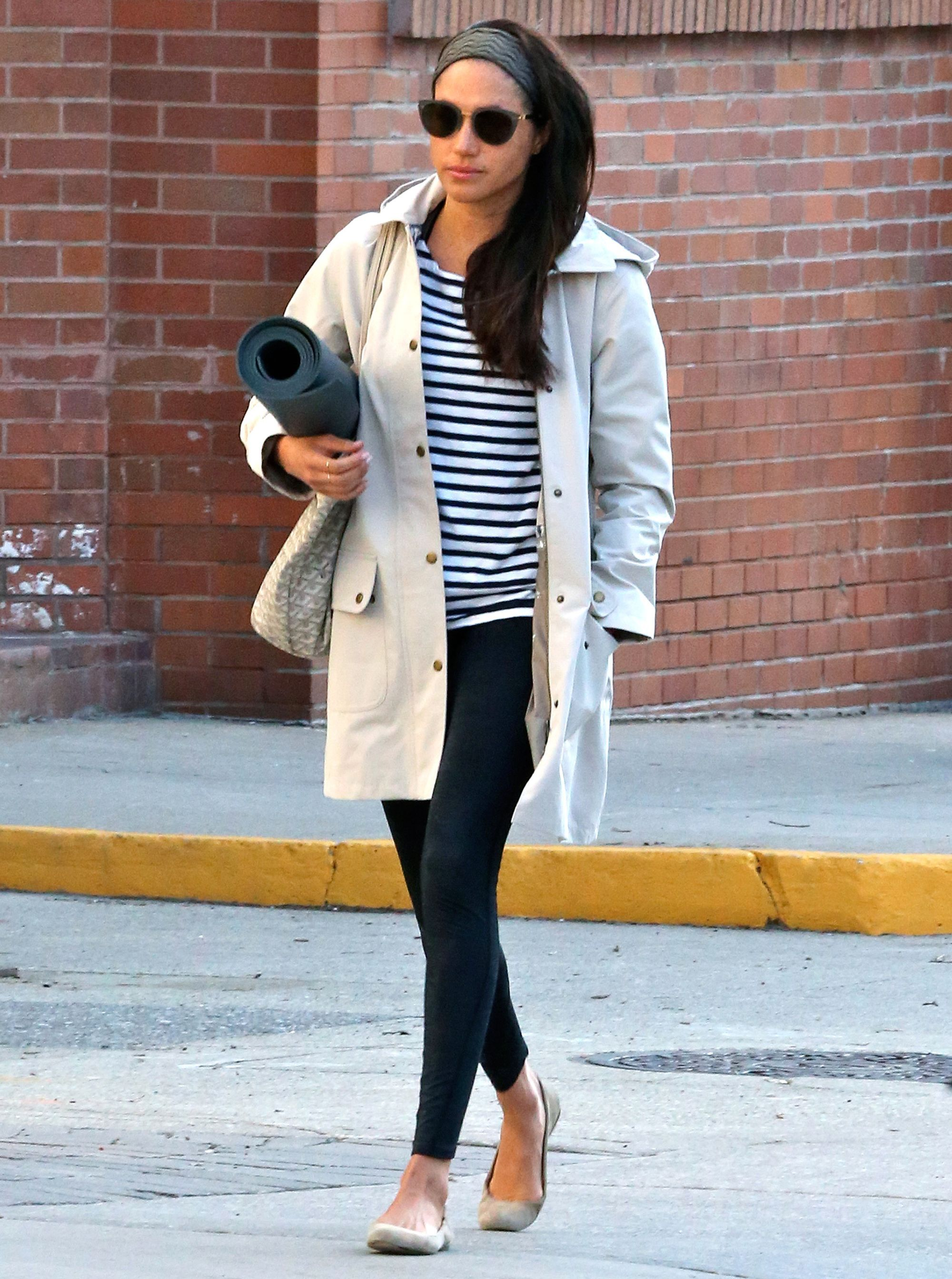 ae3d3a798 Meghan Markle Wore One of Kate Middleton's Favorite Fashion Items Heading  to Yoga from InStyle.com
