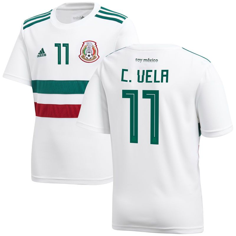f79289f7f3f Carlos Vela Mexico National Team adidas Youth 2018 Away Replica Player  Jersey – White/Green