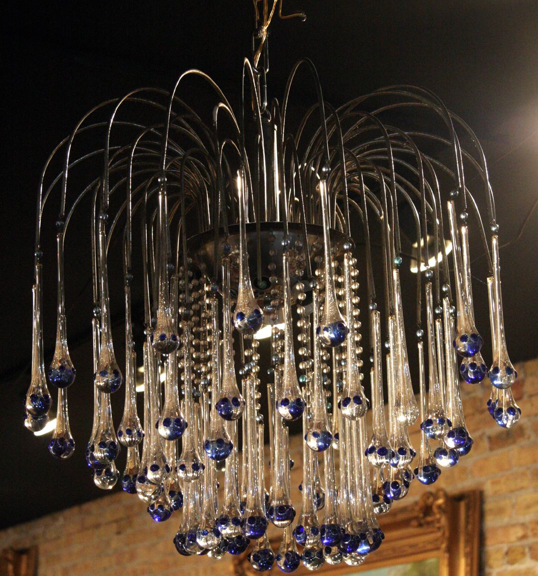 Mid century modern french chandelier with blue tipped glass drops chandeliers mid century modern french chandelier with blue tipped glass drops arubaitofo Images