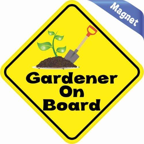 4.5'x4.5' Gardener On Board Bumper magnet Decal magnetic Vinyl magnets Decals