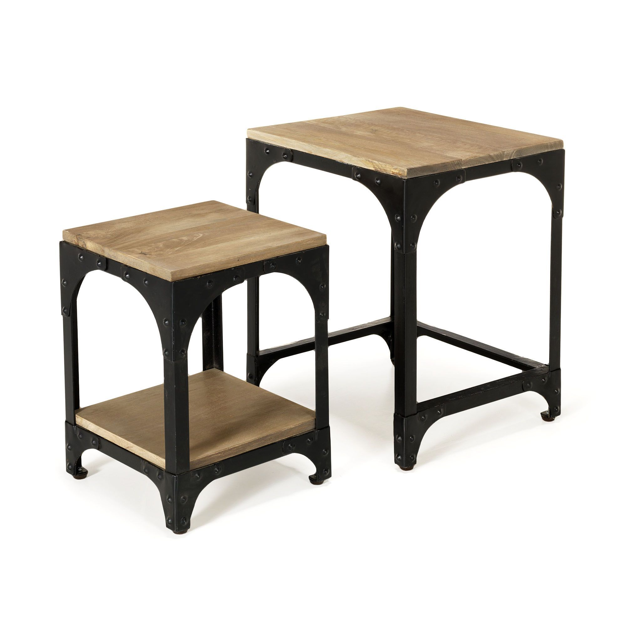 Tables basses gigognes style industriel naturel noir new ately les tables basses tables - Table de canape ...