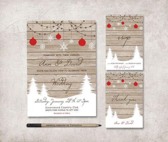 Digital Wedding Invitation Ideas: Winter Wedding Invitation, Printable Wedding Invite Set