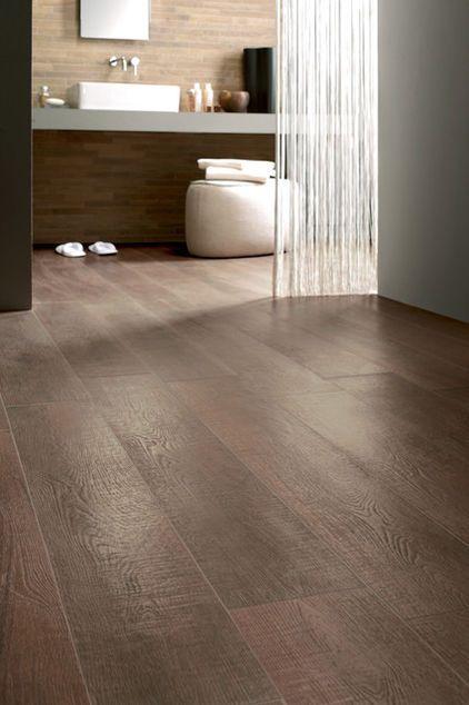 Wood Floor Tile Porcelain Hardwood Flooring Bathroom Featuring