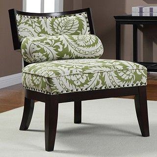 Hepburn Green Floral Chair with Bolster Pillow $181