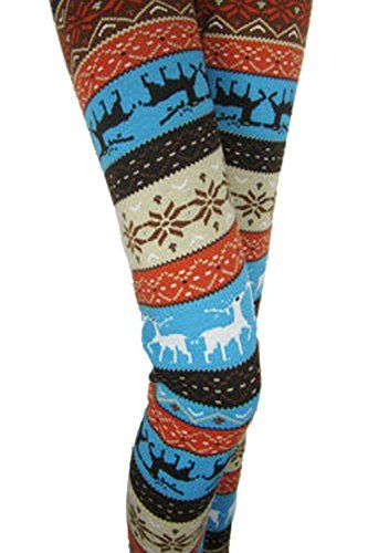 Fleece Lined Winter Printed Leggings 4 Styles Blue Wi Https Www Amazon Ca Dp B01mat8kvk Ref Cm Christmas Tights Blue Reindeer Thick Leggings