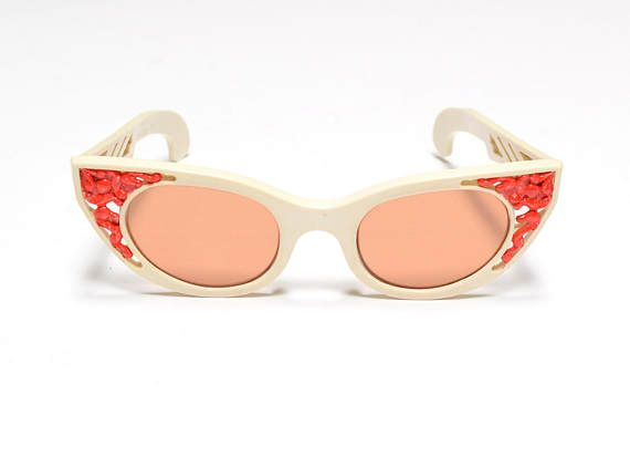 d223bd2502f vintage 50s atomic sunglasses Polaroid 72 Cool-Ray USA red White Sunglasses