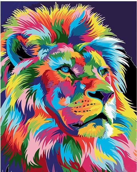 Diy Painting By Numbers Lion 16 Quot X20 Quot 40x50cm Lion Art Lion Vector Rainbow Lion