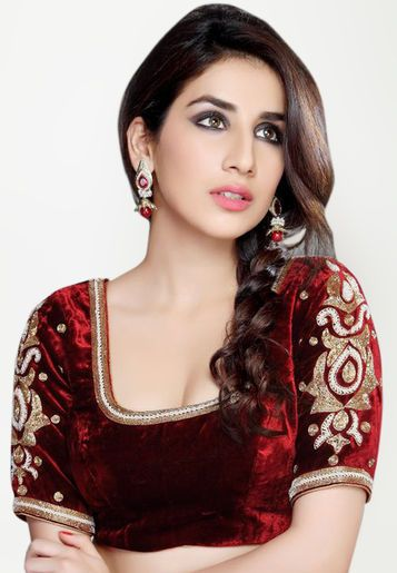 b65a6e4b355b80 ... patterns of ethnic blouses for any kind of saree. Salwar Studio 3/4Th  Sleeve Embroidered Maroon Blouse http://www.jabong