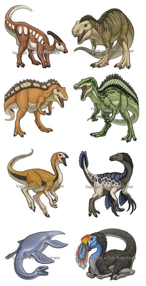 Dinosaur Set - 1 by KatieHofgard | From top left to bottom right: Parasaurolophus, Tyrannosaurus rex, Acrocanthosaurus, Spinosaurus, Struthiomimus, Therizinosaurus, Plesiosaur, and Oviraptor #dinosaurillustration