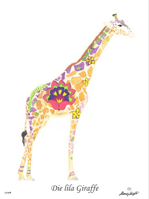 Die lila Giraffe / The purple giraffe CHF 80,00 28 x 35 cm (18 x 24 cm without passepartout)