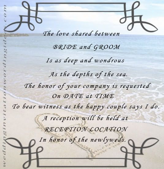 Free Beach Wedding Invitation Wordings Samples Beach Wedding