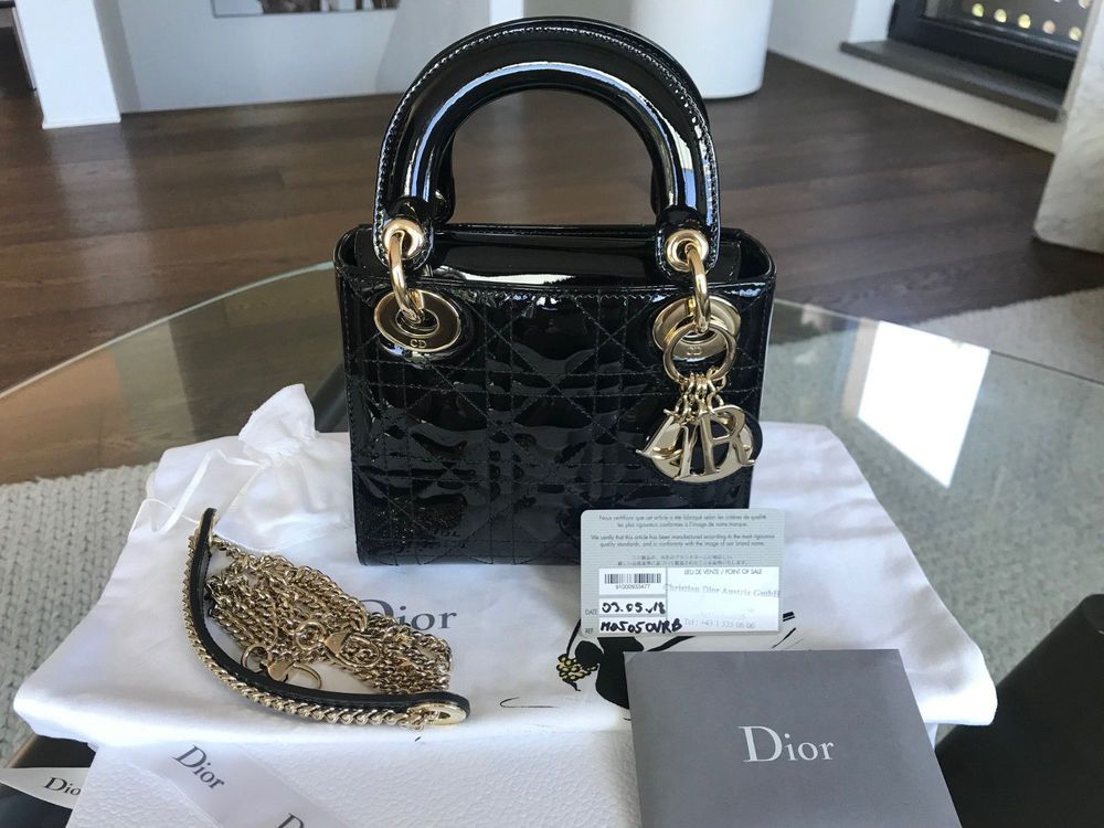 968979146 CHRISTIAN DIOR Lady Dior Mini Hand Bag Chain Strap Black Patent FULL SET  #fashion #clothing #shoes #accessories #womensbagshandbags (ebay link)