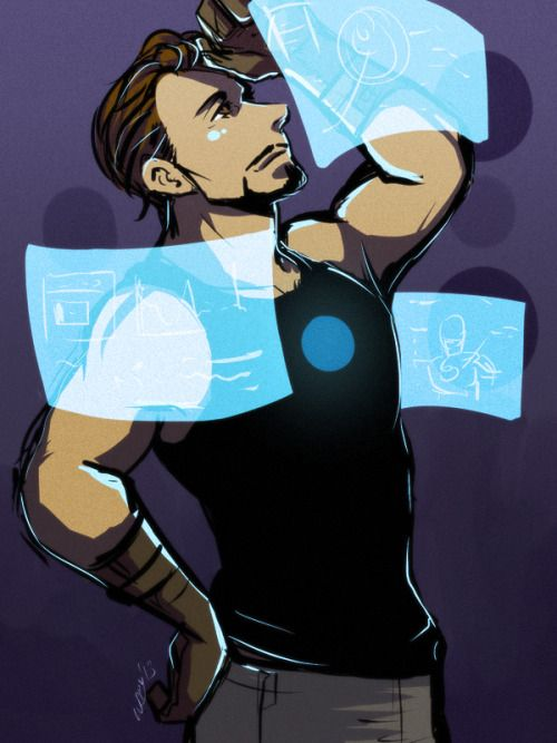 "3d5bfe71bae60d  Fanart  Tony Stark wearing a tank top and working on some blue holographic  screens.  whipbogard  "" At that point of time"