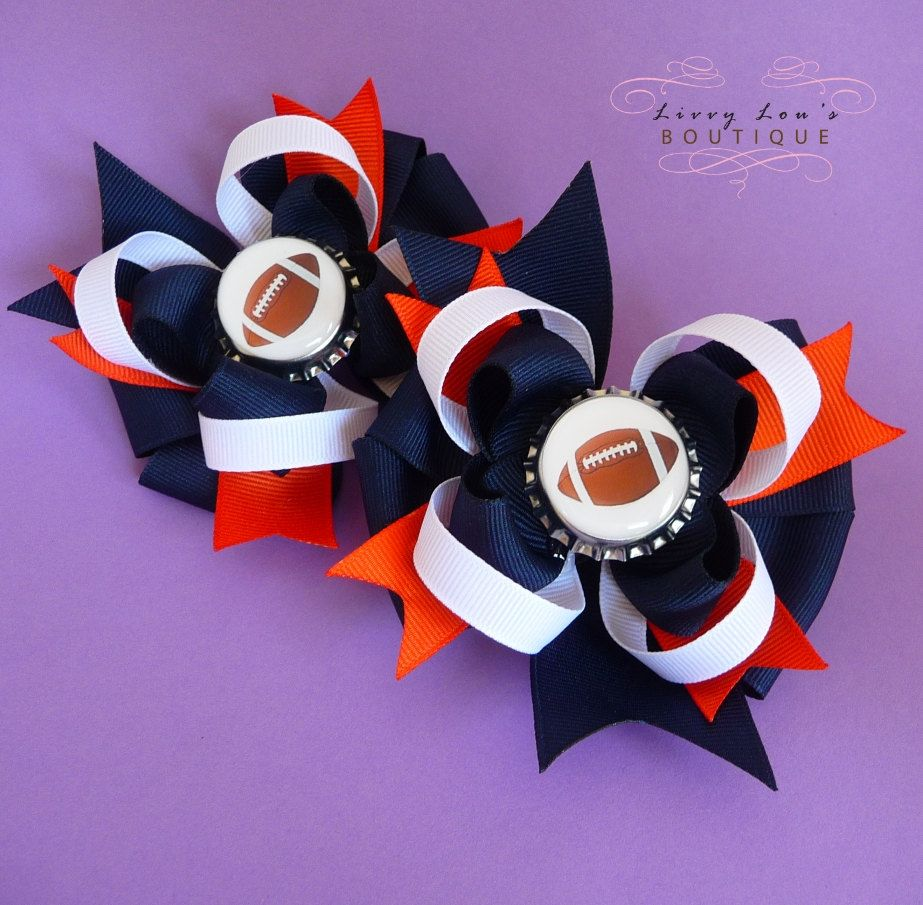Set of TWO Football Custom Bottle Cap Boutique Bows in Your Choice of Team Colors. $15.00, via Etsy.