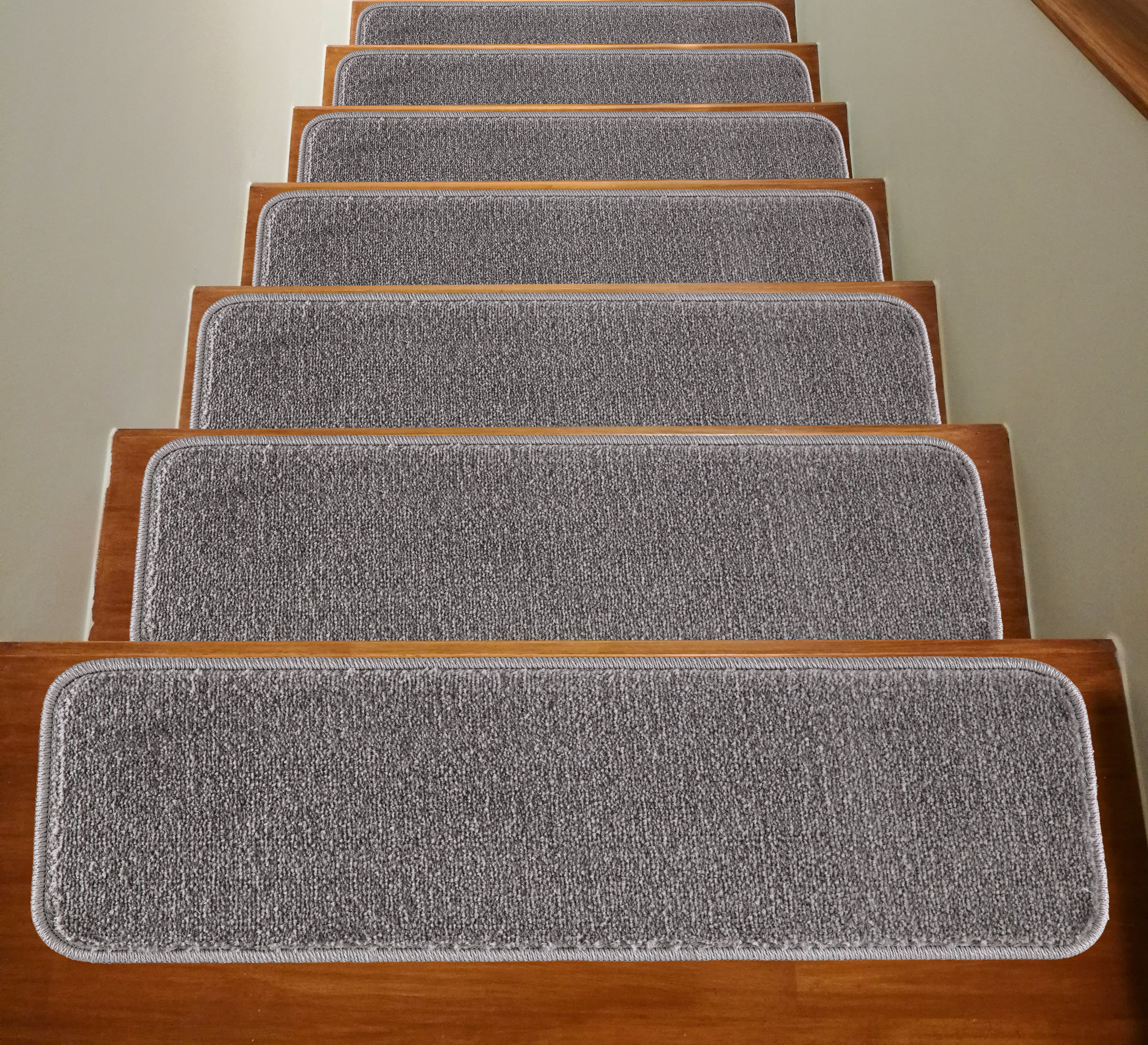 Mod Arte Solo Collection Stair Treads Modern Contemporary Solid Colors Rubber Backing Non Slip Gray Set Of 7 8 5 X 26 Stair Railing Design Carpet Stair Treads