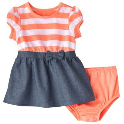 Cherokee Newborn Infant Girls Short Sleeve Dress Set So Wanting