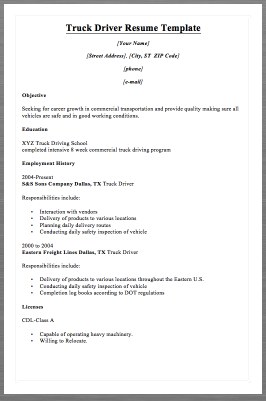 truck driver resume template macrobutton dofieldclick your name macrobutton dofieldclick street address - Truck Driver Resume Objective