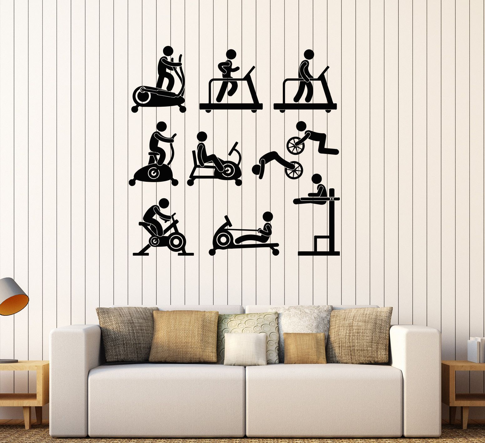 Vinyl Wall Decal Sports Gym Fitness Equipment Motivation Decor - Custom vinyl wall decal equipment