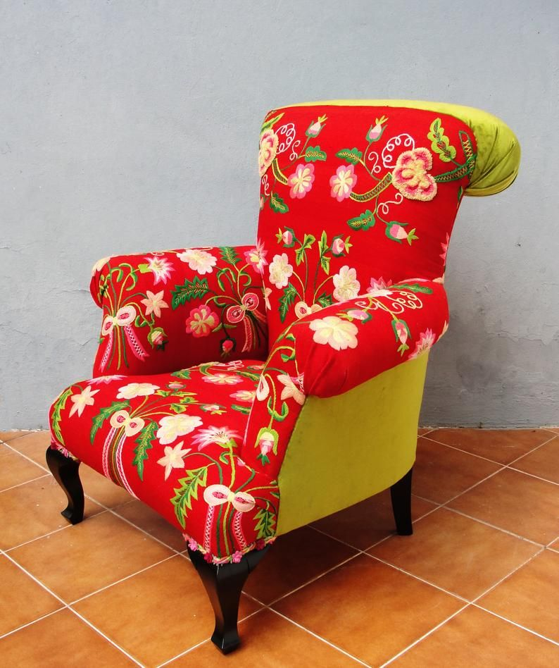 Floral Bergere Chair Embroidered Armchair Flowers And Bows Bohemian Red Floral Furniture Vintage Embroidery Global Textile Armchair Floral Furniture Vintage Furniture