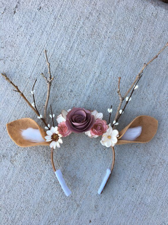 Deer Headband with Flowers & Antlers- Deer Costume-Fits Kids and Adults-Halloween, Music Festivals, Birthday, Photo Props #makeflowers