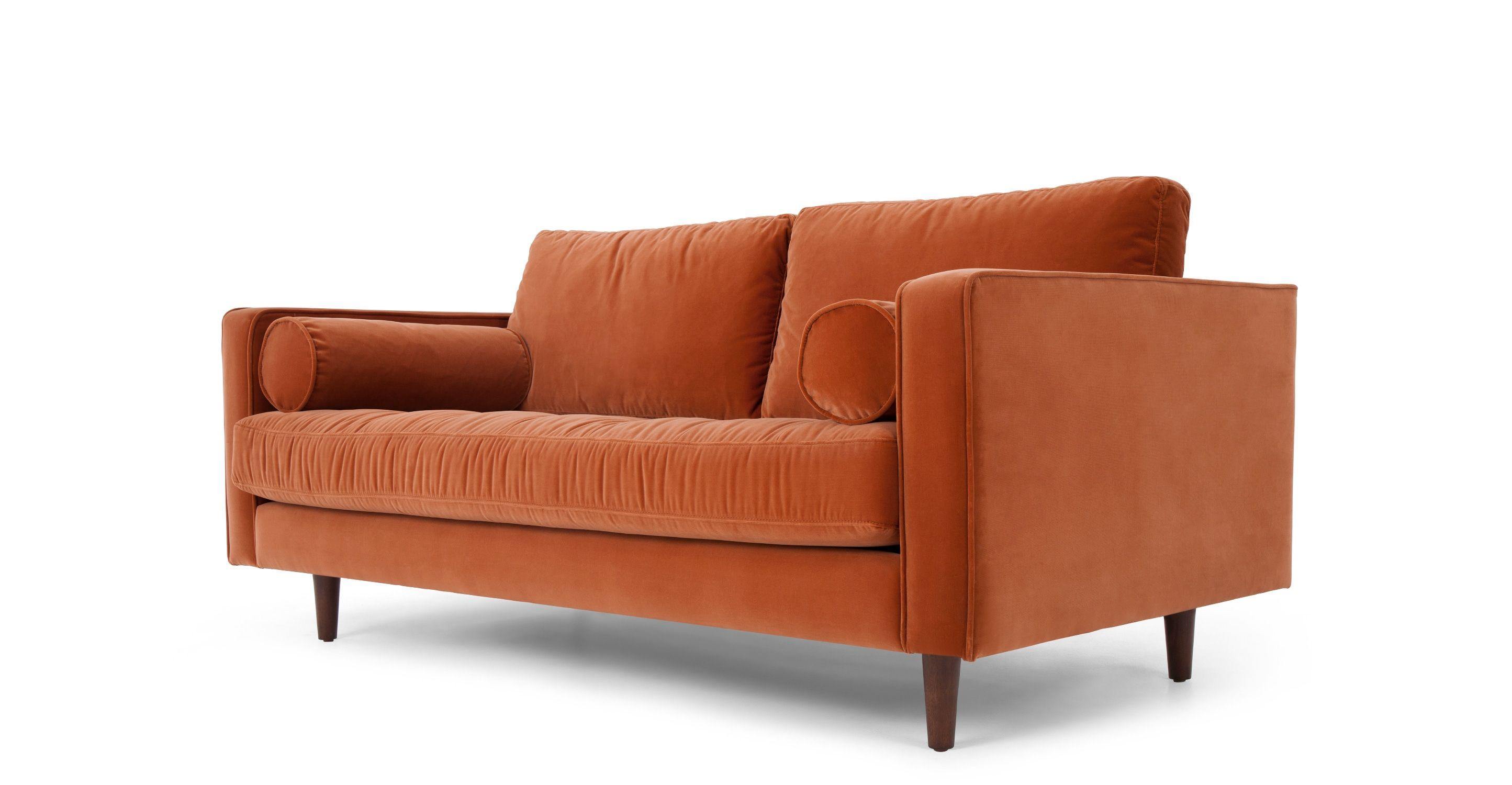 Scott breites 2 Sitzer Sofa Samt in Rostorange MADE Jetzt