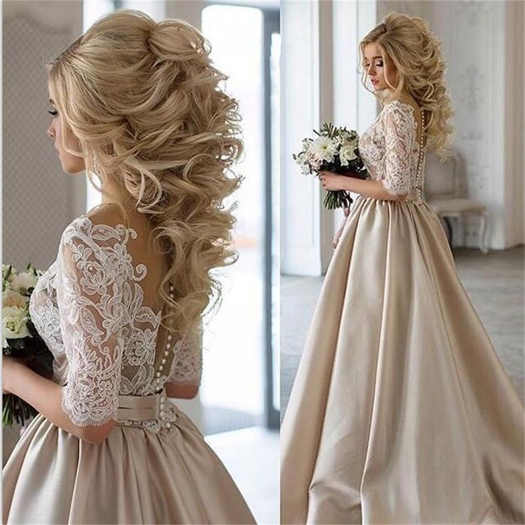 Simple New Arrival Half Sleeves Lace Top Soft Beautiful Simple Wedding Dress Prom Gown PD