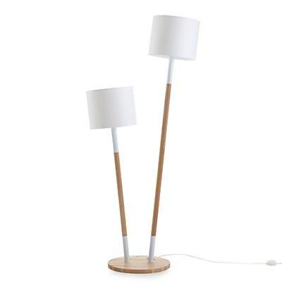 Lampadaire en hªtre et coton blanc H145cm rue Lesage