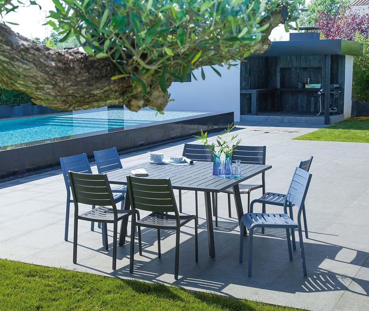 Table En Aluminium Avec Allonge Barcelona 145 Cm Gris Table De Jardin Salon De Jardin Jardiland Salon De Jardin Encastrable