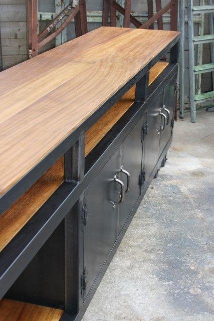 enfilade style industriel bois  métal balcão Pinterest Bois
