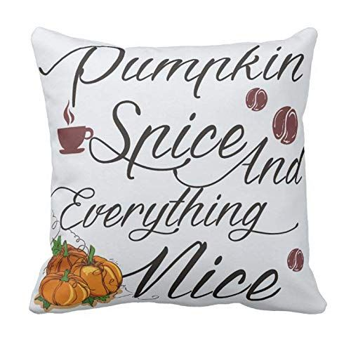 Kissenday 18X18 Inch Pumpkin Spice and Everything Nice Happy Festival Quote Saying Cotton Polyester Decorative Home Decor Sofa Couch Desk Chair Bedroom Car Cute Birthday Gift Square Throw Pillow Case Theme: Fashion Halloween,Birthday,Anniversary,Graduation,Valentine's Christmas Mothers' Thanksgiving Day,Easter Great Mom Grandmother Aunt Funny New Drawing Bedding kawaii Handlettered Beautiful Adult Typography Typographic Subway Neutral Machine washable living bedroom, office, dining room